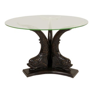 Bronze Dolphin Form Glass Top Occasional Table For Sale