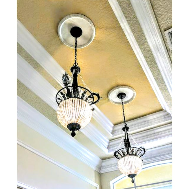 Hollywood Regency A Pair Massive Beaded French Style Crystal Hanging Chandeliers Cristol De Lisbon For Sale - Image 3 of 8