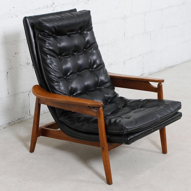 Mid-Century Modern Tufted Lounge Chair With Ottoman - Image 4 of 10