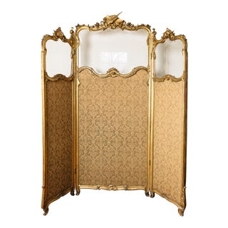 Victorian 3 Panel Folding Screen For Sale