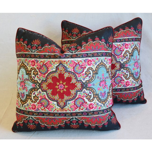 """Early 21st Century Pierre Frey French Embroidered Feather/Down Pillows 18"""" Square - Pair For Sale - Image 5 of 13"""