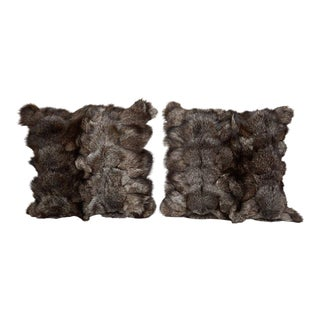 Pair of Luxe Genuine Fox Fur Pillows in Hues of Grey For Sale