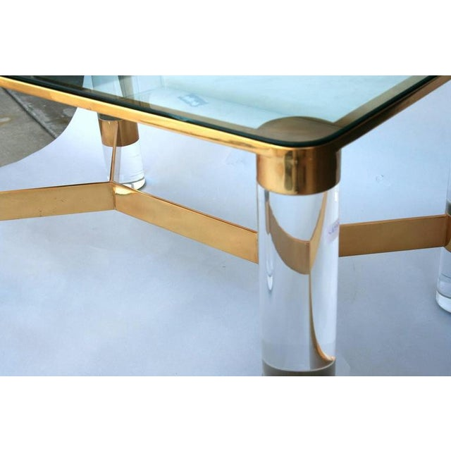 Karl Springer Lucite and Brass Occasional Table For Sale In Palm Springs - Image 6 of 7