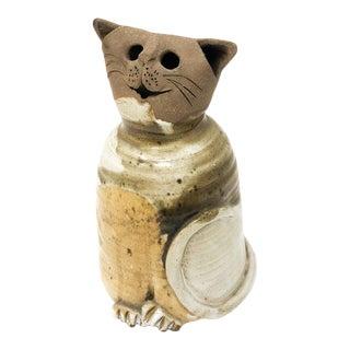 Vintage Studio Pottery Cat Sculpture/Hurricane For Sale