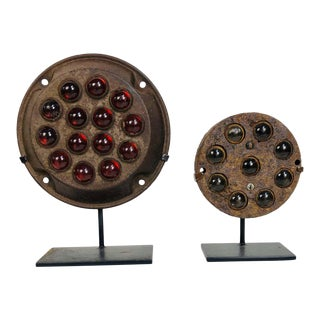 Vintage Hot Rod, Car, Truck Cats Eye Reflector Collection Mounted on Stands '7' For Sale