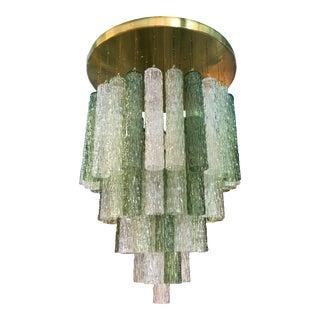 Mid Century Modern Venini Murano Glass & Brass Flush Mount Chandelier For Sale