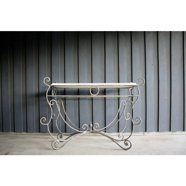French Scrolled Iron Butcher / Pastry Table With White Marble Top For Sale - Image 4 of 13