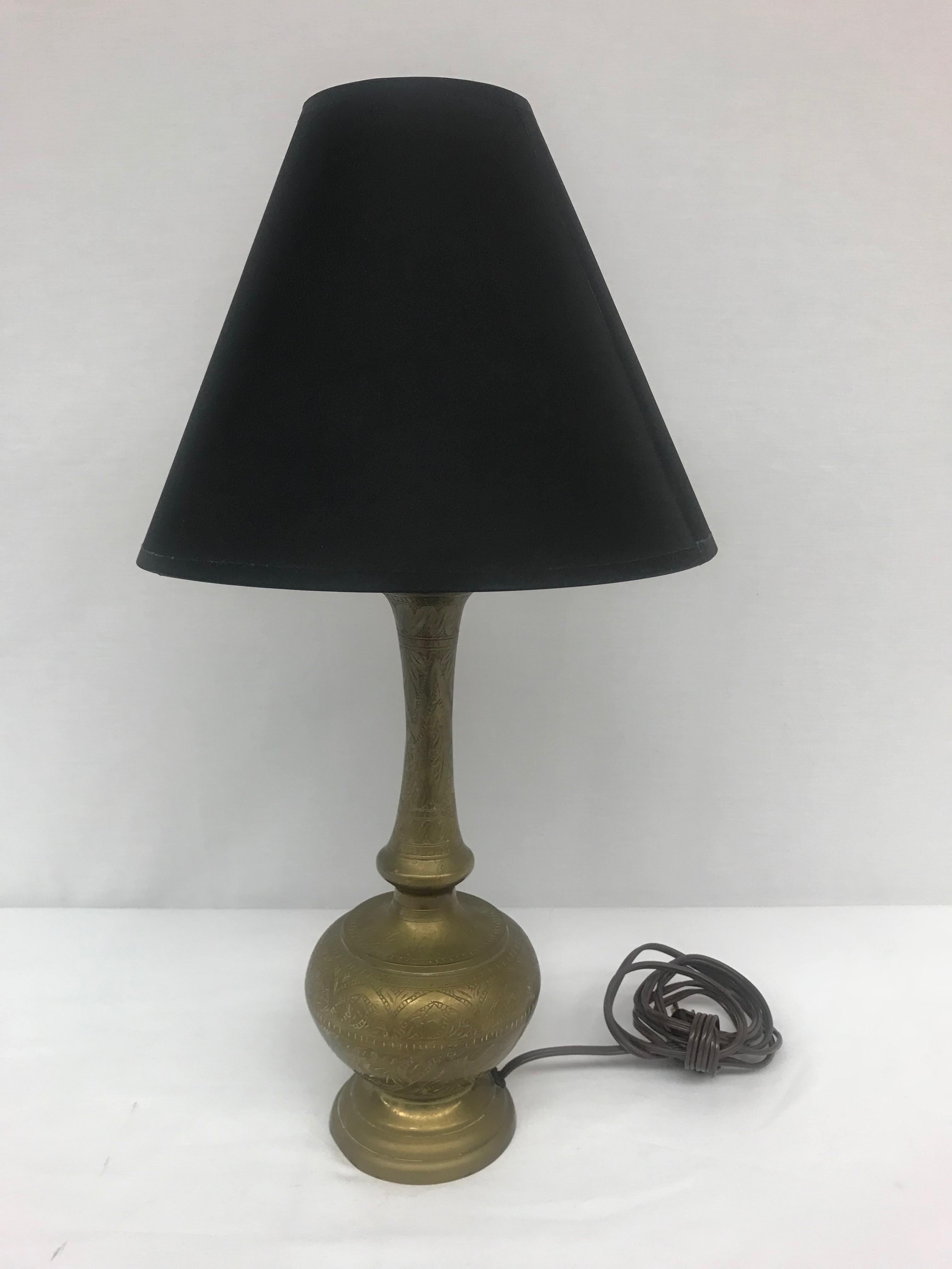Turkish Brass Bottle Shaped Table Lamp With Black Shade Chairish