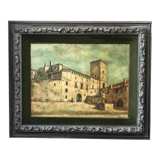 Vintage Mid-Century Medieval Spanish Village Original Signed Oil Painting For Sale