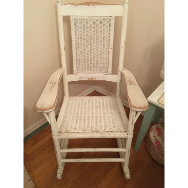 Lovely white Palecek rocker with a tan slipcovered seat. It's in Perfect condition but I don't have room for it. Very...