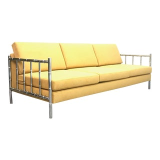 Hollywood Regency Faux Bamboo Chrome Frame Sofa For Sale