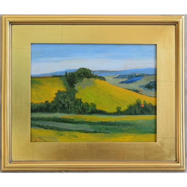 Gold Leaf California Golden Foothills Landscape Oil Painting W/ Gold Leaf Frame For Sale - Image 7 of 8