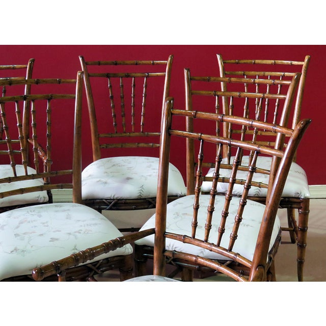 Chippendale Mid Century Faux Bamboo Dining Chairs - Set of 6 For Sale - Image 3 of 10