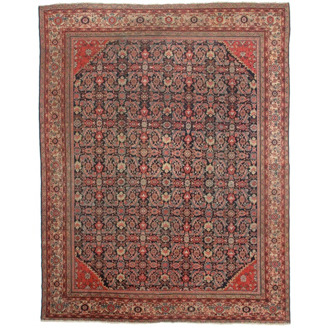 Hand-Knotted Persian Mahal Rug - 10′5″ × 13′2″ For Sale
