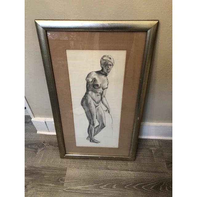 1980s Greek Goddess Nude Pencil Sketch, Framed For Sale - Image 10 of 10