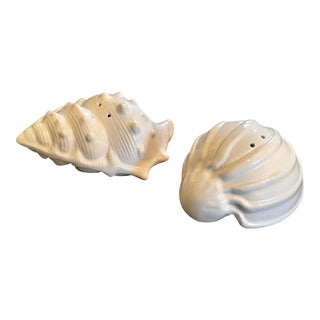 White Porcelain Seashell Salt & Pepper Shakers For Sale