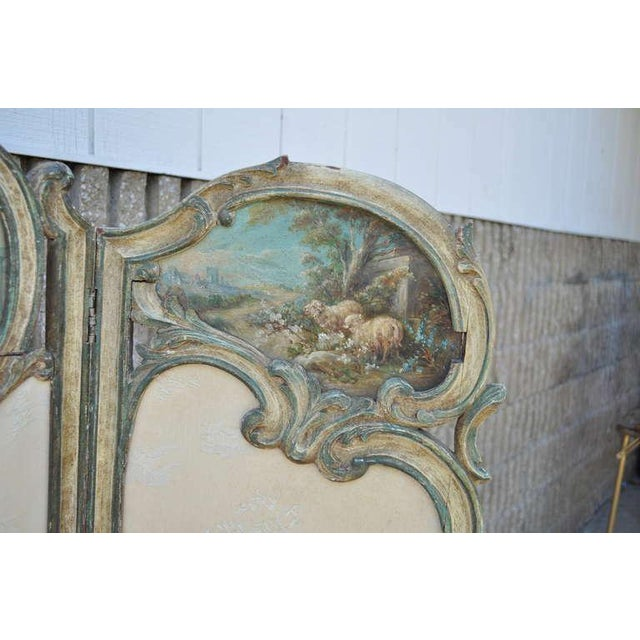 19th Century French Louis XV Style Hand Painted & Carved Petite Dressing Screen For Sale - Image 4 of 10