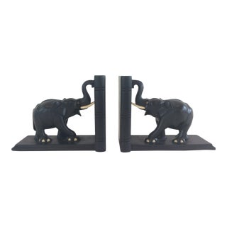 Vintage Ebony Elephant Bookends - a Pair For Sale