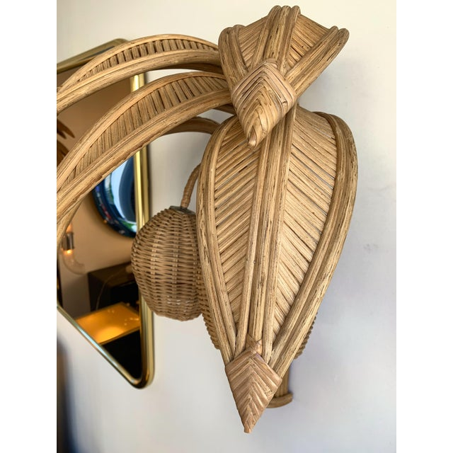 Tan 1980s Rattan Palm Tree Sconces, France - a Pair For Sale - Image 8 of 13