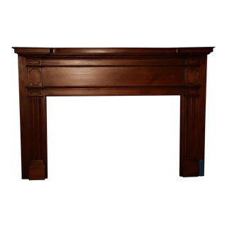 19th Century American Hand Carved Pine Mantel For Sale