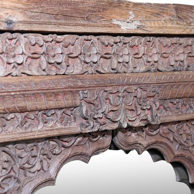 Primitive Antique Jarokha Carved Mirror For Sale - Image 3 of 4