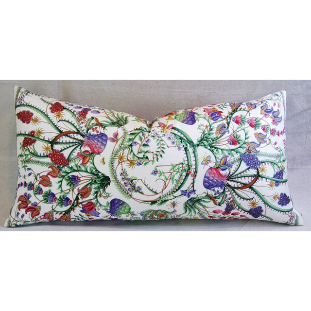 Large custom pillow made from a 100% silk Gucci floral Fanni scarf depicting an intricately detailed vibrantly colored...