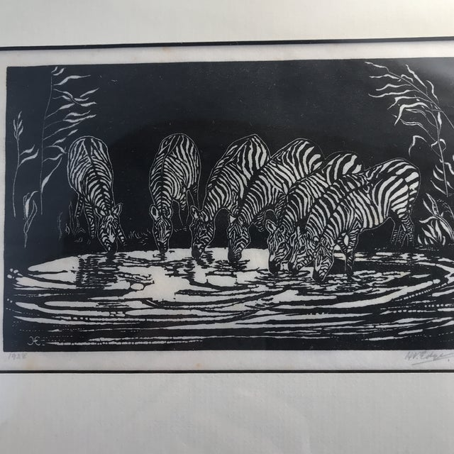 1928 Signed Zebra Lithograph - Image 9 of 10