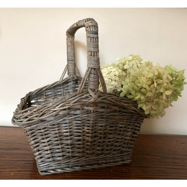 Antique Wicker Basket With Handle For Sale - Image 11 of 12