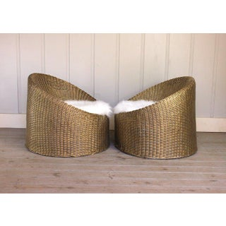 1970s Vintage Gold Woven Basket Chairs- A Pair Preview