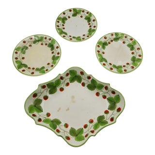 Strawberry Spode Plate and Compote Set - Set of 4 For Sale