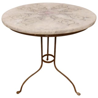 Faux Marble-Top on Iron Base Table For Sale