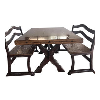 Brittany Hill Ltd Handmade Custom Made Country Dining Table & Benches For Sale