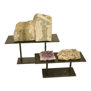 Natural Stone & Amethyst Grouping on Stand - 5 Pieces