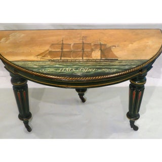 Antique Regency Period Breakfast Table W Nautical Ship Paintings Preview