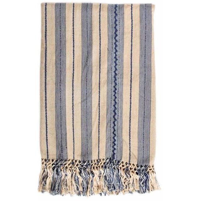 Indigo & Ecru Handwoven Blanket - Image 1 of 4