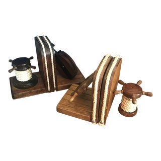 1980s Nautical Wooden Steering Wheel Bookends - 2 Pairs For Sale