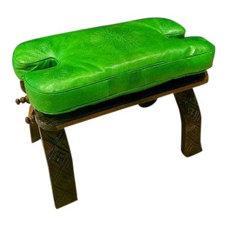 Moroccan Camel Saddle Bright Green Leather Cushion Carved Wooden Base Stool For Sale