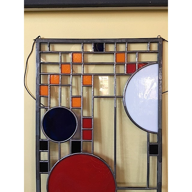 Frank Lloyd Wright Style Stained Glass Window For Sale - Image 5 of 6