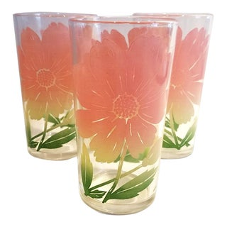 Vintage Federal Glass Pink Cosmo Flower Printed Juice Glasses - Set of 3 For Sale