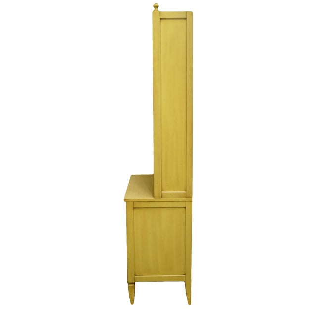 Yellow 20th Century French Provincial Basic-Witz Cream / Yellow Painted 3-Drawer Chest With Bookcase For Sale - Image 8 of 12
