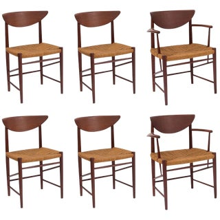 Six Hvidt & Mølgaard-Nielsen Teak and Cord Dining Chairs For Sale