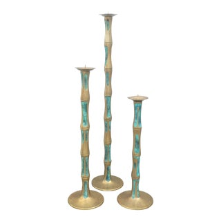 Mid Century Mexican Modernist Pepe Mendoza Bronze and Stone Inlay Candlesticks- Set of 3 For Sale