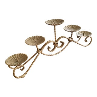 Large Gold Wrought Iron 5 Candle Stand For Sale