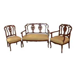 Antique Carved Three Piece Edwardian Style Salon Set - 3 Pc. Set