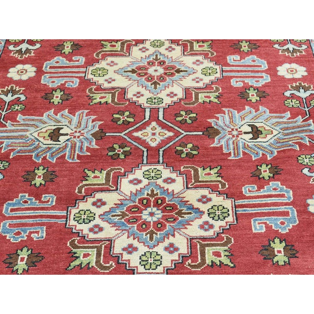 Hand-Knotted Pure Wool Geometric Design Red Kazak Rug- 5′ × 6′3″ For Sale - Image 9 of 12