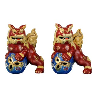 Mini Kutani Red Foo Dogs - A Pair