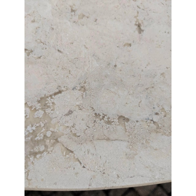Stone 1980s Contemporary Round Travertine Dining Table For Sale - Image 7 of 11