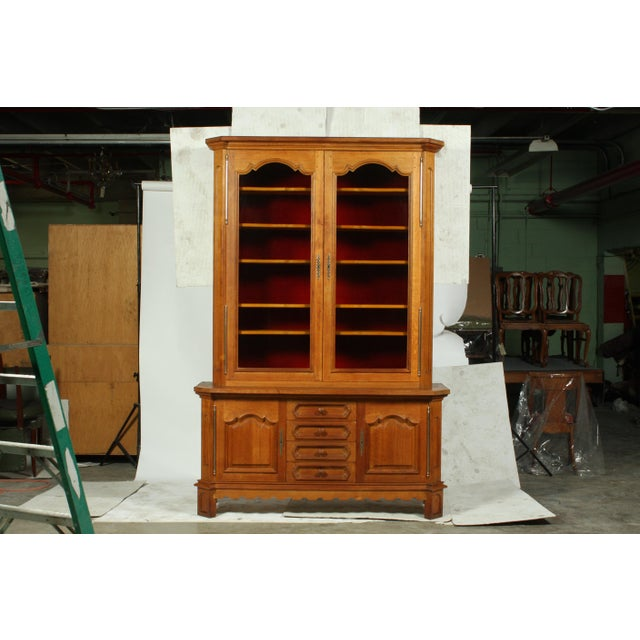 Mid-Century French Country-Style Oak Two Piece Vitrine