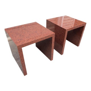 1970s Mid Century Modern Faux Burlwood Laminate Waterfall Style Side Tables - a Pair