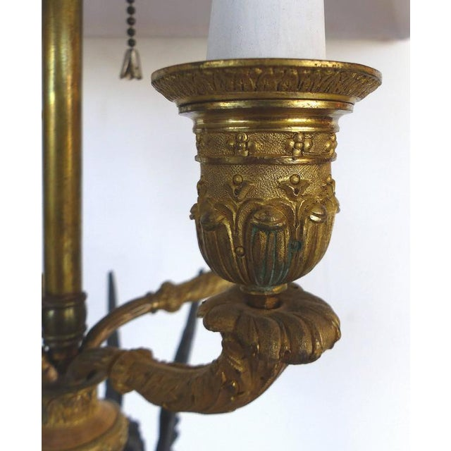 Gold 19th Century Bronze Candelabra Lamps, Pair For Sale - Image 8 of 11